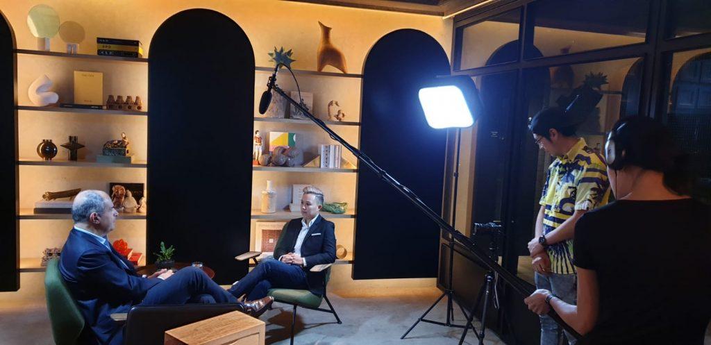Jamie interviewing Massimo Ferragamo